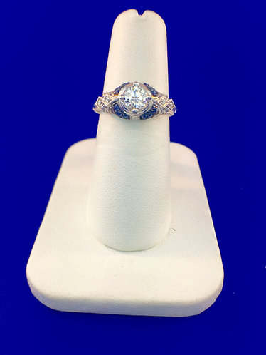 14kt. white gold diamond and sapphire engagement ring