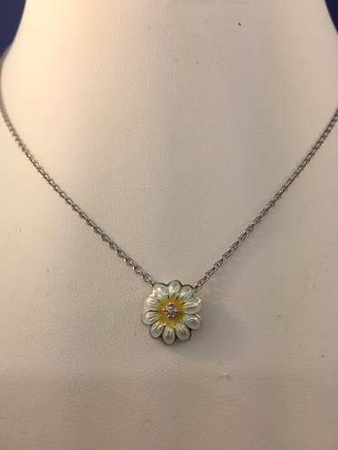 Hand enameled Sterling Silver Daisy pendant