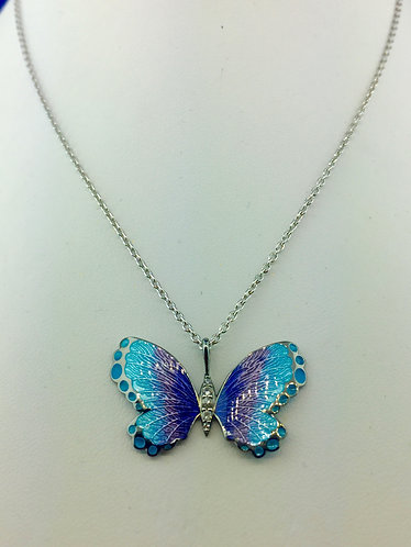Handmade enamel butterfly necklace in sterling silver and sapphire