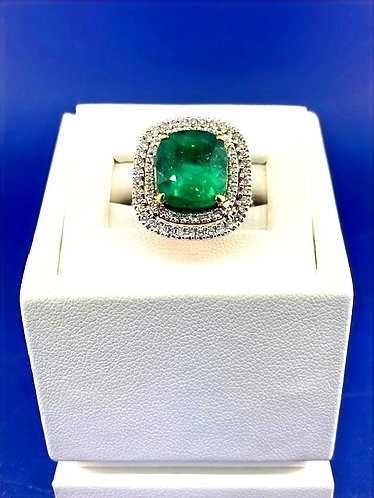 14kt. white and yellow gold natural emerald and diamond ring