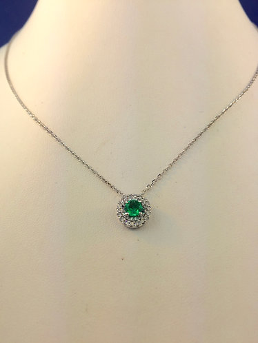 14kt. white gold natural emerald and diamond pendant