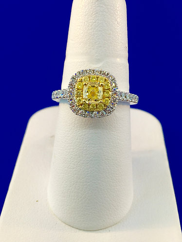18kt. white and yellow gold with fancy yellow diamond