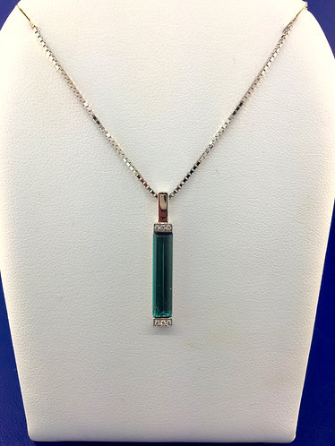 18kt.white gold natural blue green tourmaline with diamond necklace