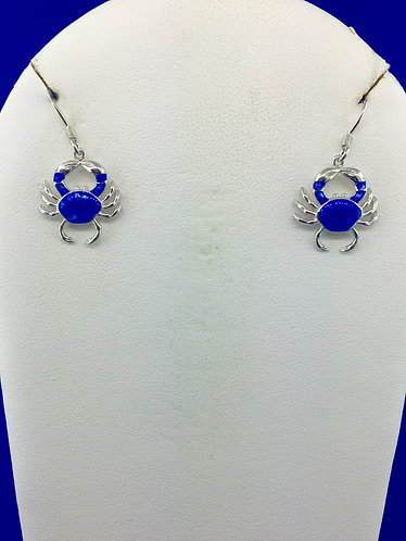 Hand made enamel blue crab earrings in sterling silver