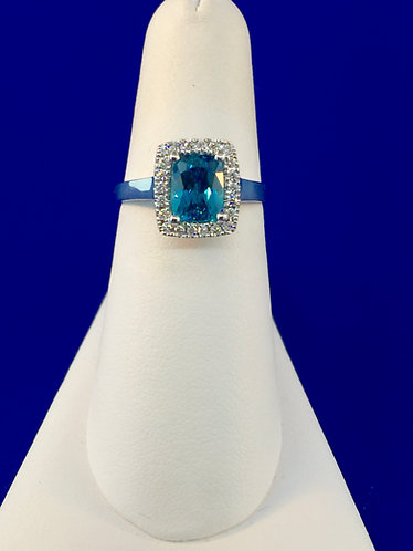18kt. white gold cushion blue zircon and diamond