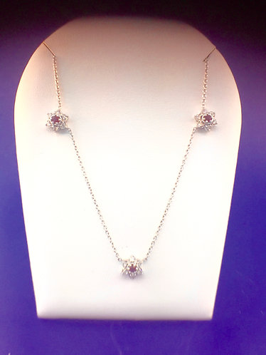 14kt. white gold diamond and ruby necklace
