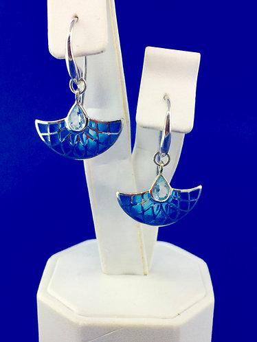 Hand Made enamel modern blue topaz earrings