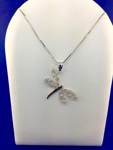 14kt. white gold dragonfly pendant