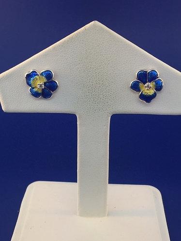 Hand Enameled Blue Pansy Sterling Silver earrings