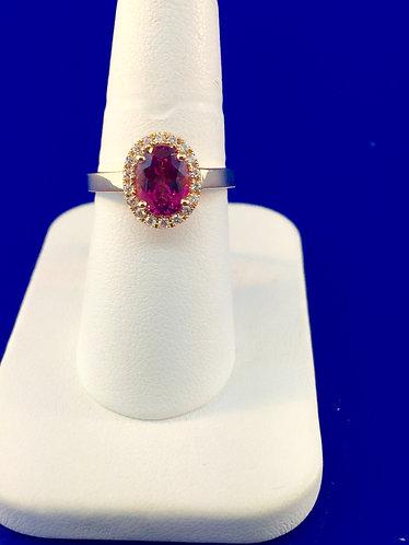 18kt. rose gold pink tourmaline and diamond ring