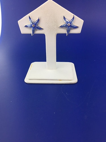 Hand enamel blue starfish earrings with diamond center