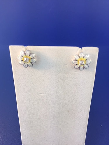 Hand Enameled Sterling Silver daisy earrings