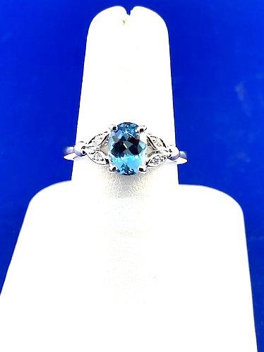 14kt. natural aquamarine and diamond ring