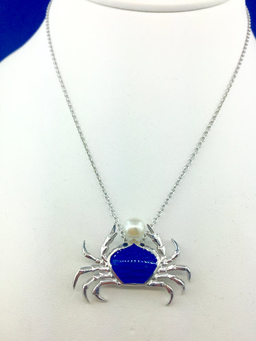 Hand Made enamel blue crab in sterling silver with pearl