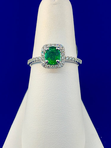 14kt. white gold natural emerald and diamond ring