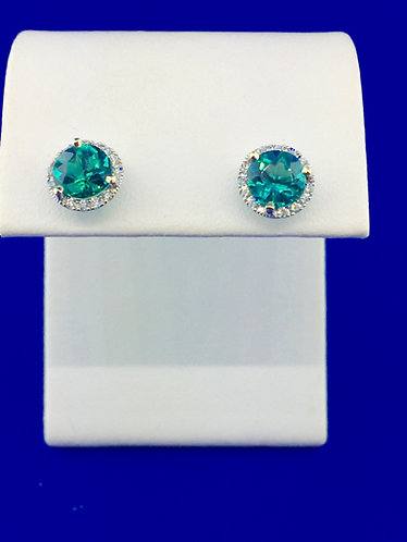 14kt. white gold blue green tourmaline earrings