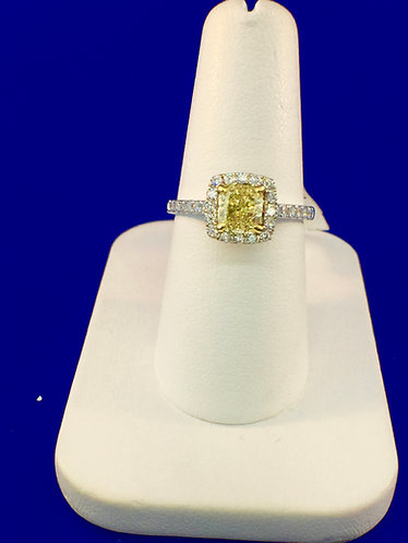 14kt. white and yellow gold fancy yellow cushion ring