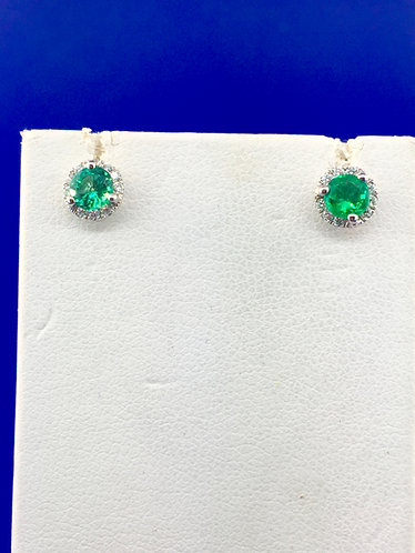 14kt. white gold natural emerald and diamond earrings