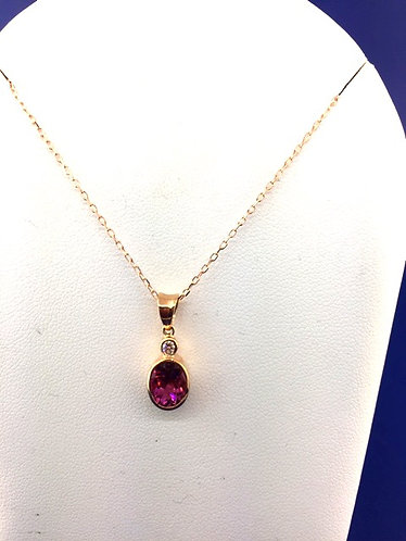 18kt. rose gold chain with pink tourmaline and diamond pendant