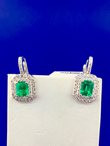 18kt. white gold natural emerald and diamond lever back earrings