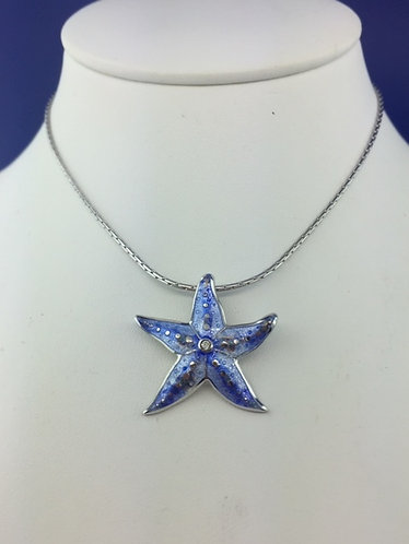 Handmade enamel blue starfish with diamond center