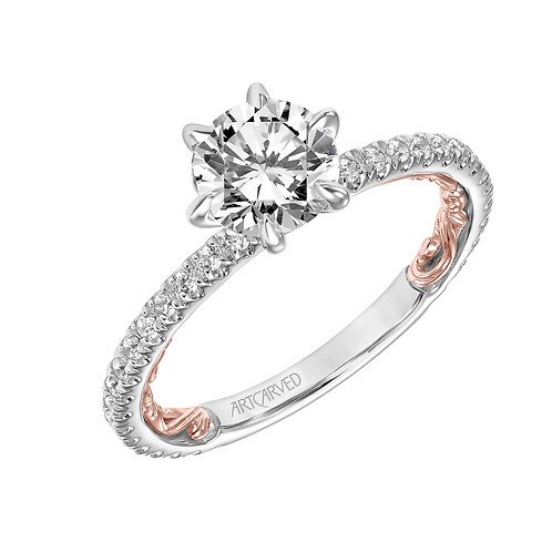 14kt. white and rose gold diamond semi mount