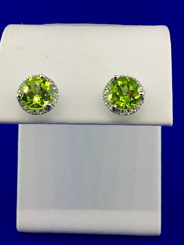 14kt. white gold peridot and diamond earrings