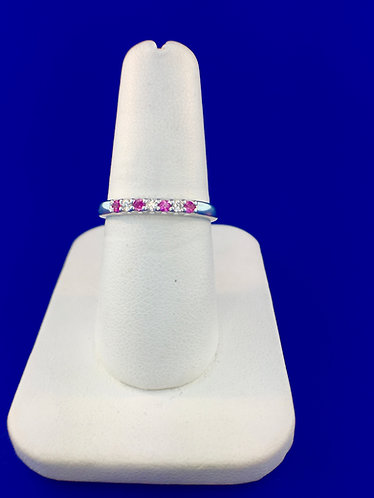 14kt. white gold pink sapphire and diamond band