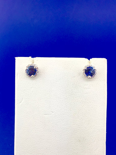 14kt.white gold natural sapphire and diamond earrings