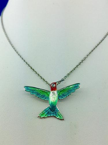 Hand made enamel hummingbird pendant