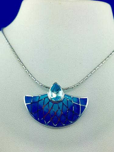Hand made enamel blue modern pendant with a pear shape blue topaz