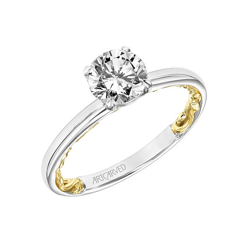 14kt. white and yellow gold diamond solitaire