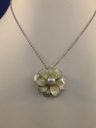 Hand enameled sterling silver flower necklace