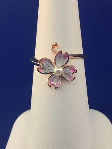 Hand Enameled Pink and white Plumeria ring with a rose tone in Sterling Silver