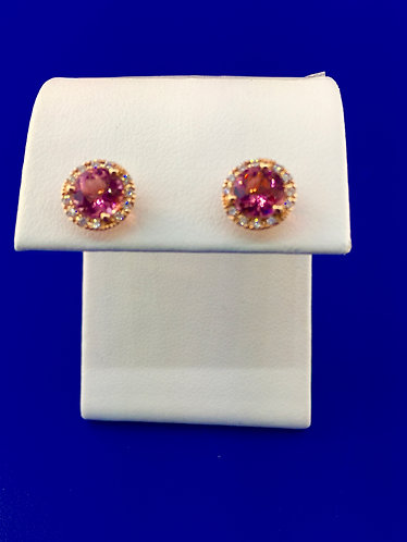 14kt. rose gold natural pink tourmaline and diamond earrings