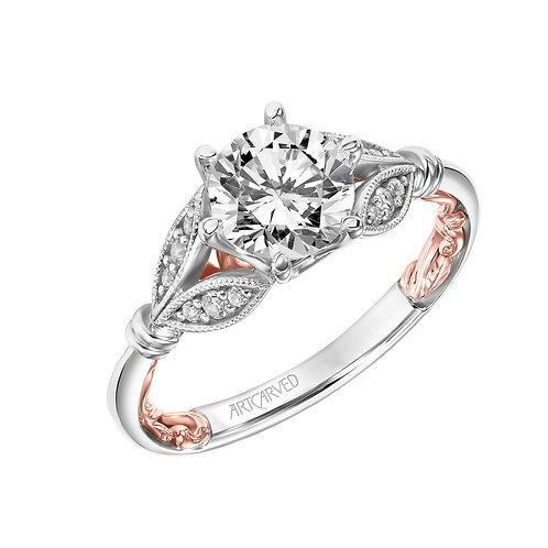 14kt. two tone diamond semi mount