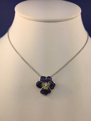 Hand Enameled Purple Pansy necklace in Sterling Silver