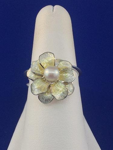 Hand enameled sterling silver flower ring