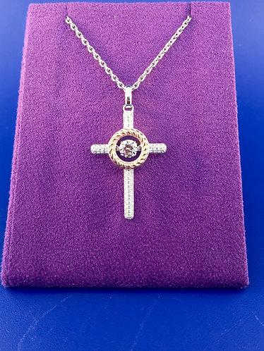 Twinkles Swarovski cut CZ and sterling silver cross pendant