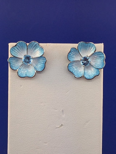 Hand enameled earrings with center blue topaz in sterling silver