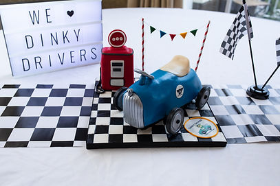 Table decorations at Dinky Drivers party