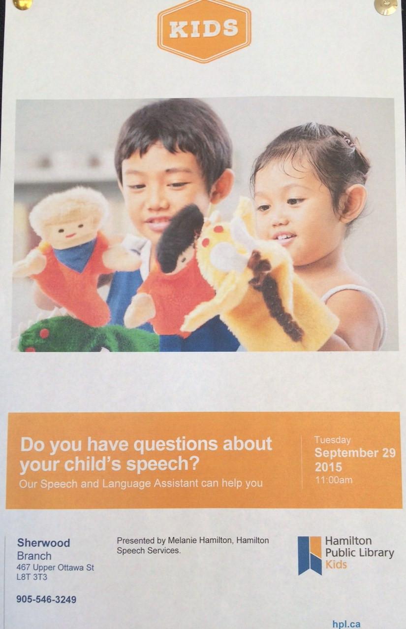 Hamilton Speech Services' Info session poster