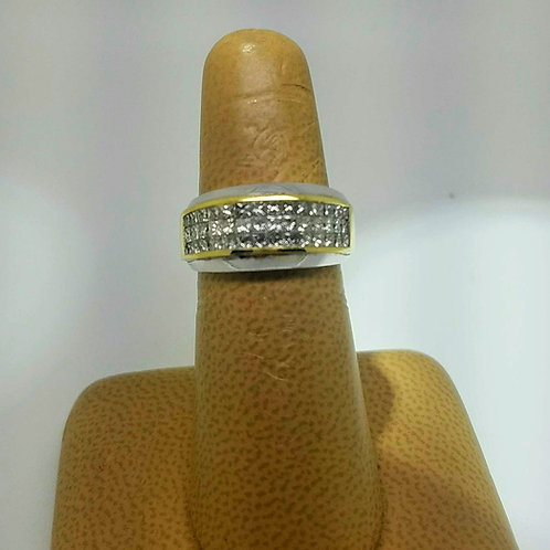 18k YELLOW & WHITE GOLD DIAMOND BAND
