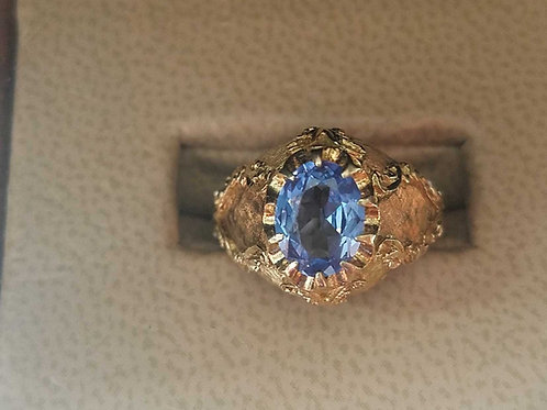 18k vintage blue topaz ring