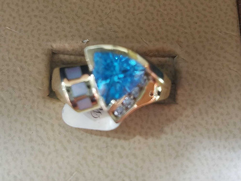 14k yellow gold blue topaz diamond & mother of pearl