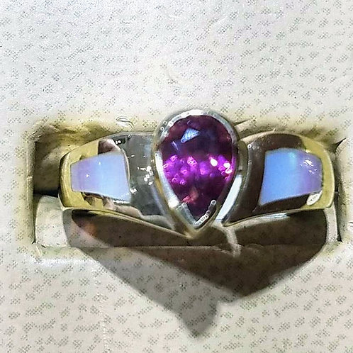 14k pink tourmaline & mother of pearl ring .