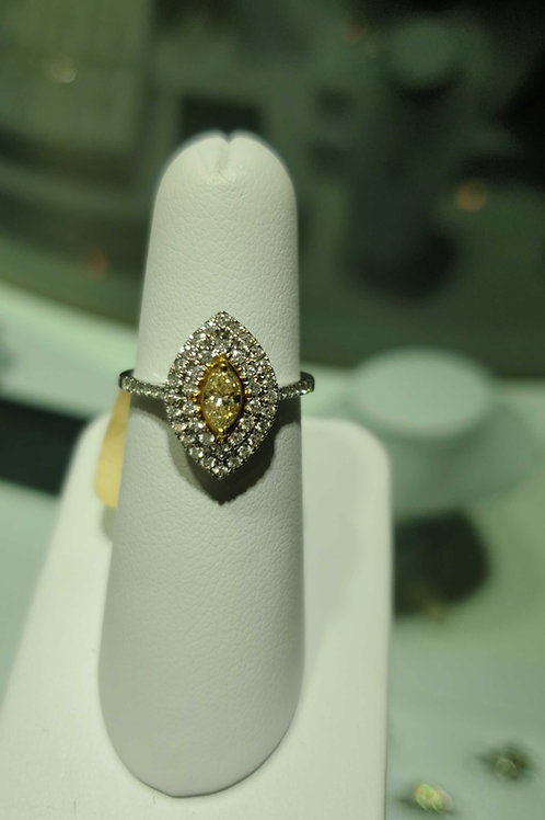 14k white gold yellow &white diamond ring