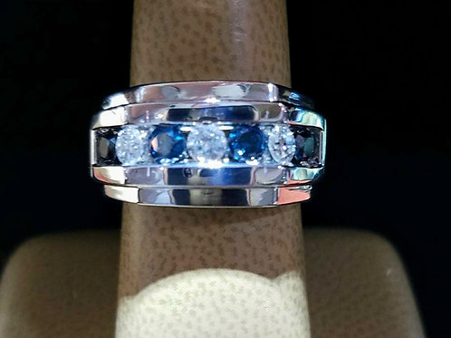 14K WHITE GOLD BLUE & WHITE DIAMOND BAND