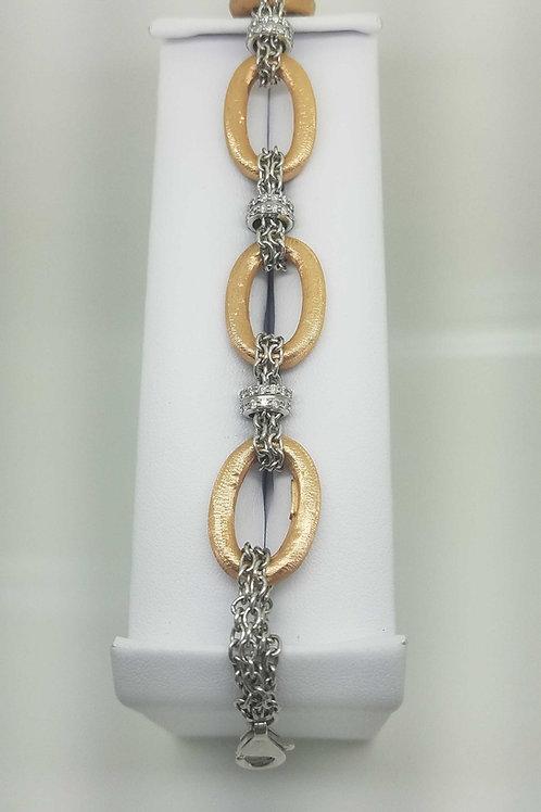 14k rose & white gold italian bracelet