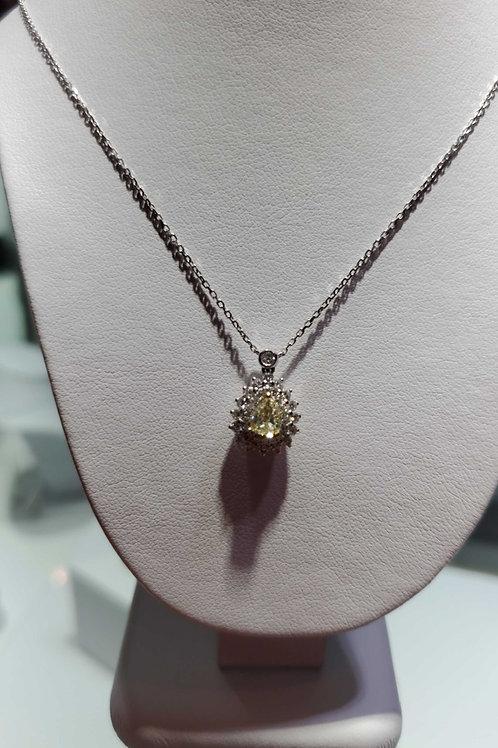18 carat white gold yellow and white diamond necklace